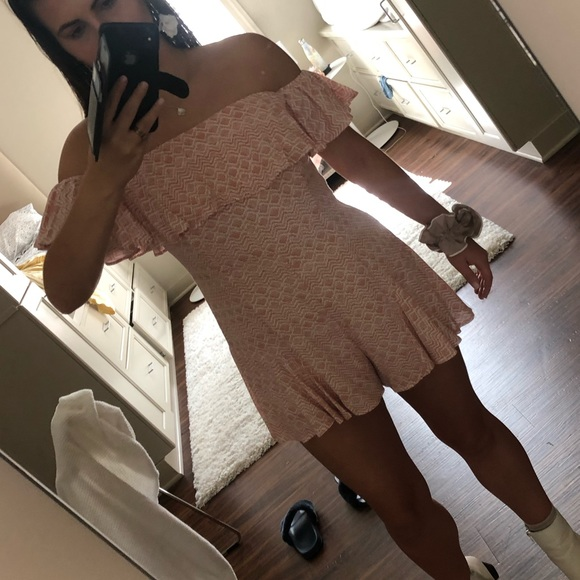 Cotton Candy Other - Patterned off the shoulder romper